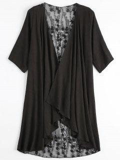 Kimono De Bordado Transparente Cubrir - Negro