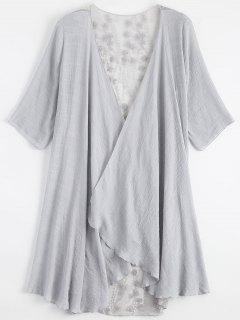 Sheer Embroidery Kimono Cover Up - Light Gray