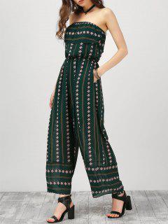 Strapless Ruffle Argyle Wide Leg Jumpsuit - Blackish Green M