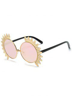 Metal Sun Design Frame Mirror Round Sunglasses - Pink