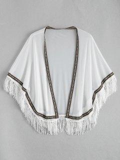 Ethnic Mesh Tassel Kimono Cover Up Top - White