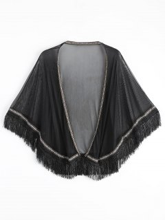Ethnic Mesh Tassel Kimono Cover Up Top - Black