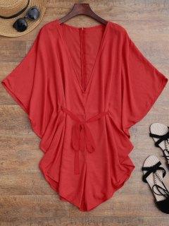 Drawstring Cubrir Hasta Batwing Romper - Rojo S