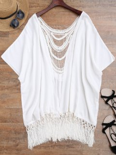 Tassels Crochet Panel Batwing Kimono Cover Up - Blanc