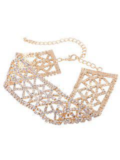 Sparkly Alloy Rhinestone Geometric Necklace - Golden
