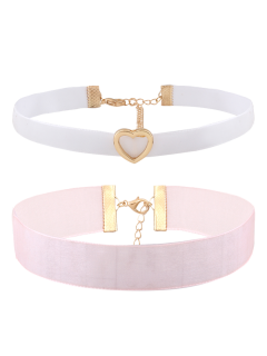 Heart Velvet Choker Necklace Set - Multicolor