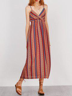 Slip Tie Front Holiday Dress With Stripe - L