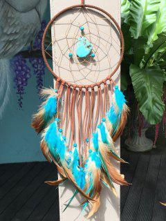 Artificial Turquoise Feather Dreamcatcher Hang Home Decoration - Multicolor