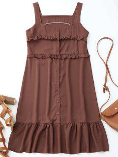 Button Up Ruffle Sleeveless Dress - Dark Red