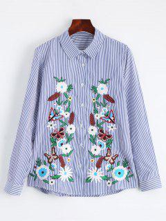 Chemise Brodée En Coton à Rayures - Rayure S