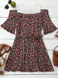 Floral Cold Shoulder Flare Sleeve Dress - Floral
