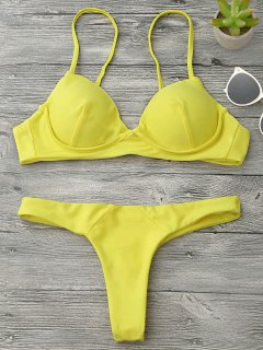 Underwire Push Up Thong Bikini Set - Yellow M