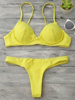 Underwire Push Up Thong Bikini Set - Gelb S