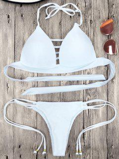 Halter Molded Cup String Bikini Set - White M