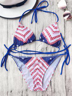 Stars Chevron Padded String Bikini Set - Blue And White And Red S