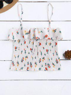 Cami Smocked Volantes Tank Top - Floral S