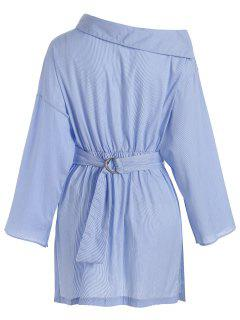 Side Button Belted Shirt Casual Dress - Stripe M