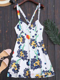 Vestido De Verano De Corte Imperio Floral Con Espalda Descubierta - Blanco L