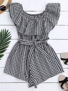 Off Shoulder Ruffle Plaid Romper With Belt - Black Xl