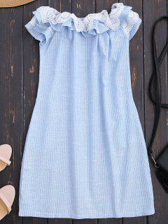Off Shoulder Ruffle Striped Dress With Pockets - Light Blue S