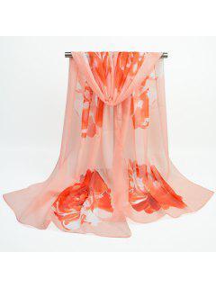 Showy Flower Printed Gossamer Chiffon Scarf - Light Apricot