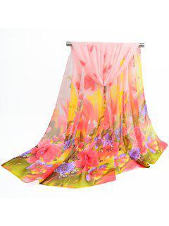 Spring Blossom Printed Fine Gauze Shawl Scarf - Light Apricot Pink