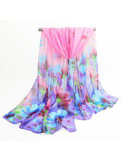 Fancy Blooming Flowers Printed Chiffon Shawl Scarf - Blue And Pink