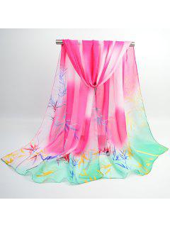 Ombre Chinoiserie Bamboo Printed Shawl Scarf - Sangria