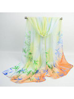 Ombre Chinoiserie Bamboo Printed Shawl Scarf - Limeade