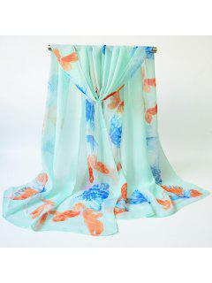 Watercolour Butterfly Printed Gossamer Shawl Scarf - Azure