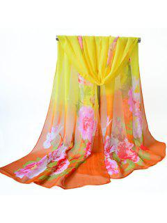 Flores De Flores Impresas Chifón Chal Bufanda - Amarillo