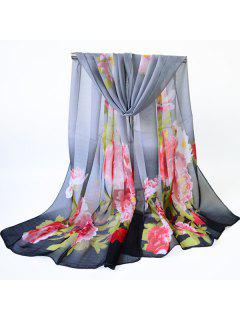 Blooming Flowers Printed Chiffon Shawl Scarf - Black