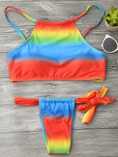 Rainbow Colored String Bikini Set - Multicolor S