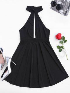 Sleeveless Plunge Mesh Backless Dress - Black L