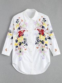 Camisa Bordada Floral De La Mariposa - Blanco L