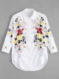 Floral Butterfly Embroidered Shirt - White S