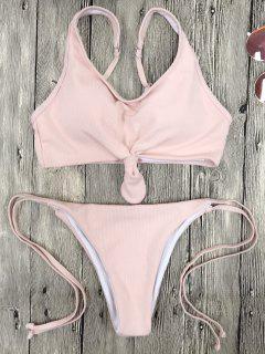 Cami Bralette String Bikini Set - Pink M