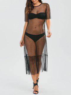 Sheer Ruffle Mesh Cover Up With Dot - Black L