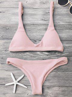 Low Waisted Padded Scoop Bikini Set - Pink M