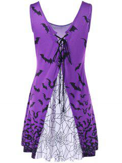 Bat Print Lace Up Tank Dress - Purple L
