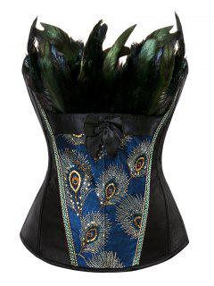 Lace-Up Feather Sequined Embroidered Corset - Black M
