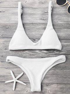 Low Waisted Padded Scoop Bikini Set - White S