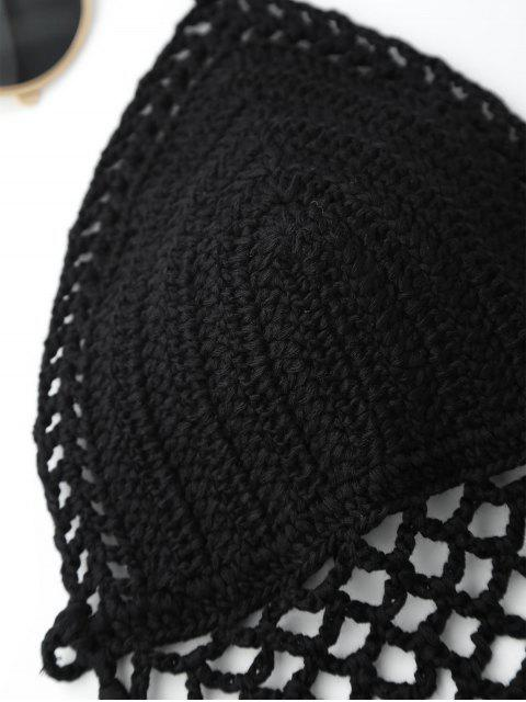 lady Halter Open Back Crochet Fringe Top - BLACK ONE SIZE Mobile