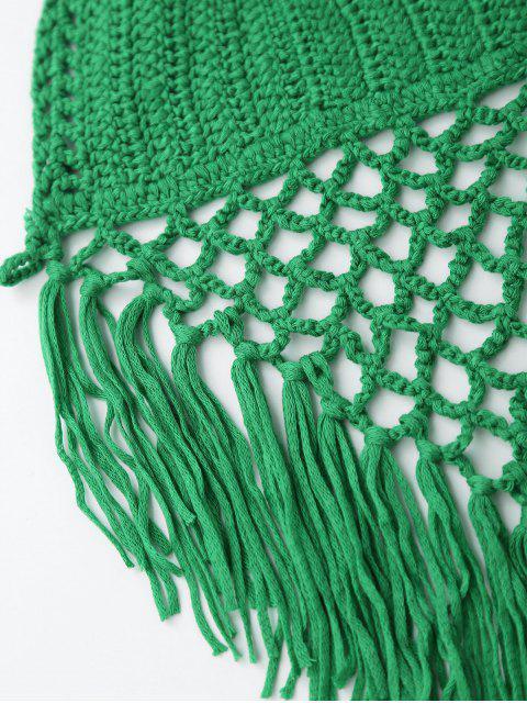 Top frangé en crochet à dos nu à bretelles - Vert TAILLE MOYENNE Mobile