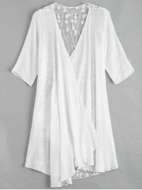 Kimono de bordado transparente cubrir - Blanco Única Talla Mobile