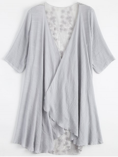 latest Sheer Embroidery Kimono Cover Up - LIGHT GRAY ONE SIZE Mobile