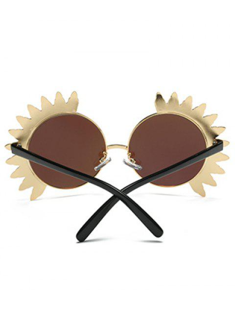 lady Metal Sun Design Frame Mirror Round Sunglasses - BLUE  Mobile