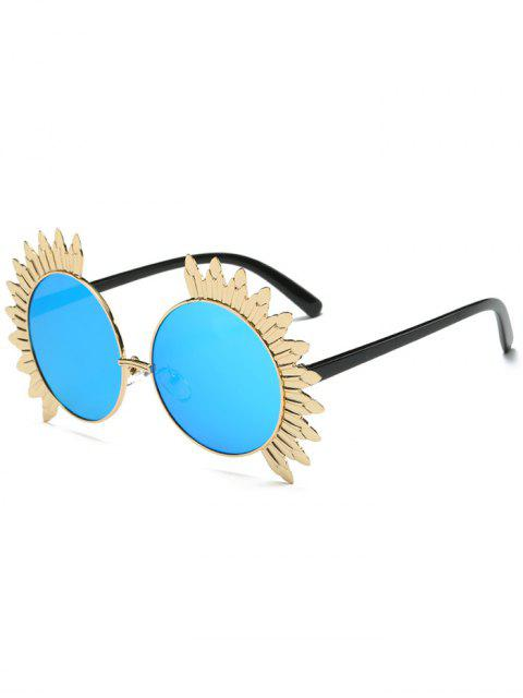 lady Metal Sun Design Frame Mirror Round Sunglasses - BLUE  Mobile