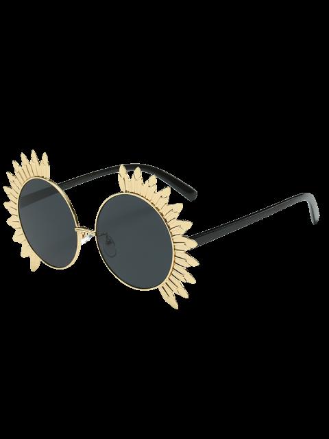 Lunettes de soleil à cadre rond avec embellissement métalique en forme de soleil - Noir  Mobile