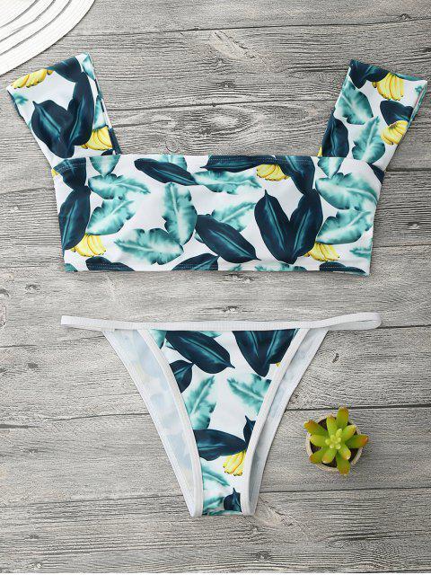 Ensemble de bikini à cordes en forme de banane - VERT DE POMME ET JAUNE S Mobile